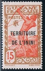 Inini 7, 15c Archer Overprint of French Guiana, MNH, F-VF