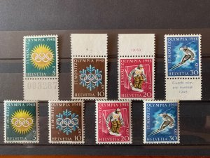 Switzerland 1948 5th Winter Olympic Games Set and Gutter Set