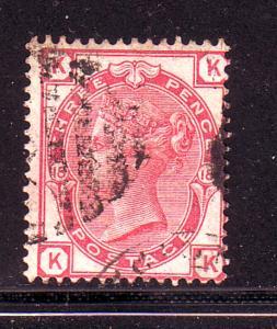 Great Britain Sc 61(P18) 1873 3d rose Victoria stamp used