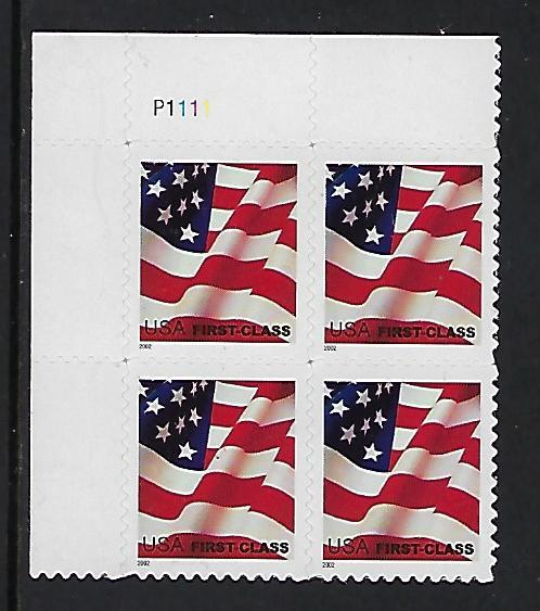 Catalog 3621 Plate Block Of 4 Stamps First Class Flag Stamp HipStamp