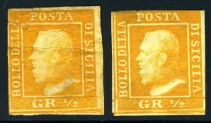 ITALY STATES SICILY SC#10g SASSONE #11 MINT NO GUM LOT OF TWO AS SHOWN