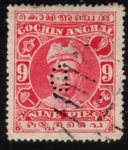 INDIA COCHIN 1911-13 9p carmine D PERFIN used - D reversed.................46650