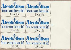 1927 - .18 Alcoholism Plate Block of 6 mnh vf.