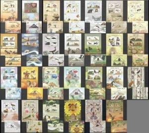 PE321-9,331-48 2014 CONGO BUTTERFLIES BIRDS WILD ANIMALS DINOSAURS 27BL+27KB MNH
