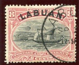 Labuan 1896 QV 8c pink (p13½-14) very fine used. SG 69a.