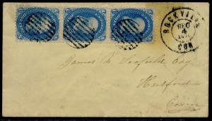 #63 STRIP OF 3 ON COVER WITH ROCKVILLE, CT CDS CANCEL TO HARTFORD, CT BQ6391