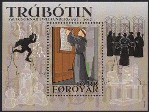 Faroe Islands 2017 MNH Sc #693a Souvenir sheet 18k Martin Luther, Reformation...