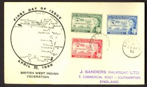 DOMINICA 1958 QE2 WEST INDIES FEDERATION Set CACHET FDC Cover Sc 161-163