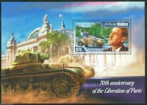 MALDIVES 2015 70th ANN OF THE LIBERATION OF PARIS CHARLES de GAULLE S/S NH