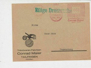 Germany 1935 Clothing Advertising Tailingen Cancel Stamps Cover FRONT Ref 24988