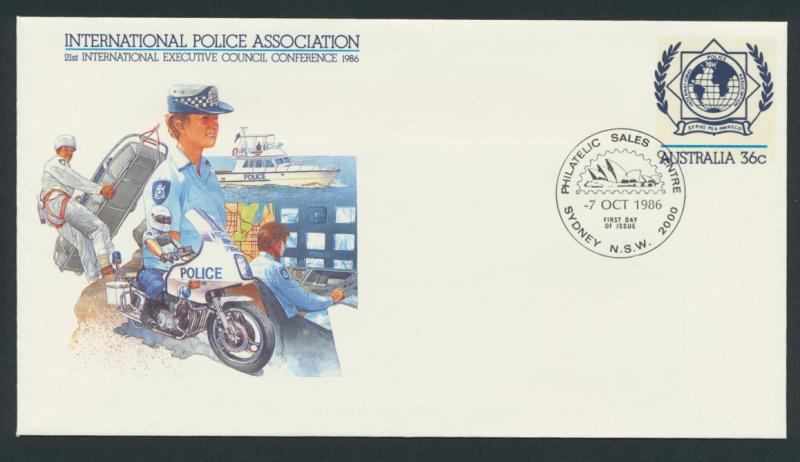 Australia PrePaid Envelope 1986 International Police Association