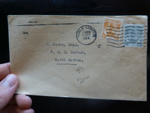Malaya Selangor 1954 two Stamp cover to Labuan, NB (29bex)
