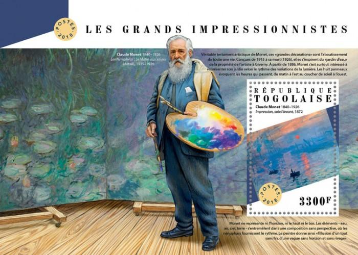 TOGO- 2018 - Great Impressionists - Perf Souv Sheet - MNH