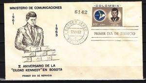 Colombia, Scott cat. C455. President John Kennedy on a First day cover.