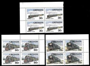 Grenada SC 1120-1122 * Locomotives * Blocks of 4 * MNH * 1982