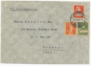 Switzerland Scott #168 #158 #177 on Cover to India November 22, 1923