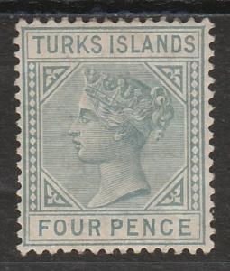 TURKS ISLANDS 1882 QV 4D GREY WMK CROWN CA