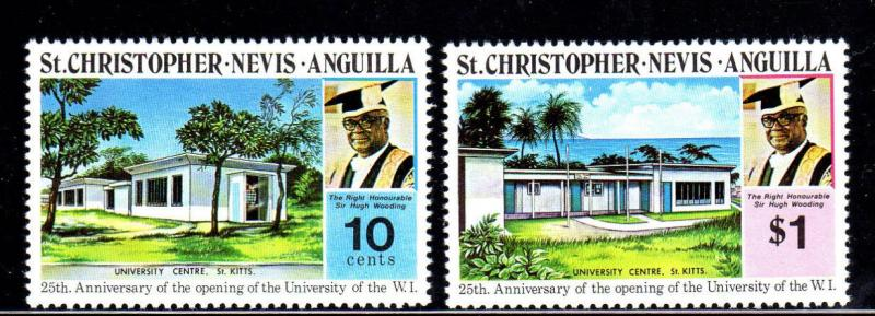 ST. KITTS- NEVIS #284-285  UNIVERSITY OF THE WEST INDIES  MINT  VF NH  O.G  a