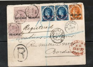 St Lucia SG #F15 #F20 #F28 Used Postal Fiscals In Combination With 1882 3d