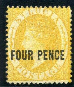 St Lucia 1882 QV 4d yellow MLH. SG 27. Sc 21.