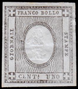 Sardinia Scott P1 (1861) Mint NG H VF, CV $8.75 B