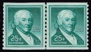 US STAMP #1059A 1965 25¢ Paul Revere Liberty Series Coil MNH LINE PAIR  XFS