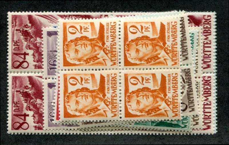 Germany Wurttemberg 8N14-27 MNH Blks 4, inclusions mentioned for accuracy