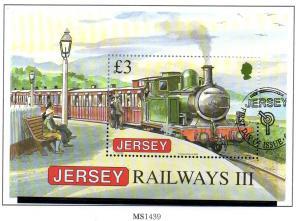 Jersey Sc 1379 2009 £3 Railways stamp sheet used