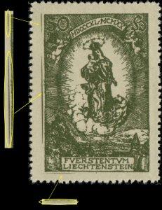 LIECHTENSTEIN - 1920 Mi.40 with extra lines in left & bottom margins - Mint**
