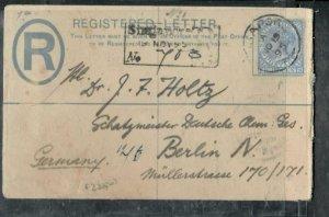 MALAYA STRAITS SETTLEMENTS COVER (P0307B) 1895 QV 5C RLE+8C  REG SINGAPORE-GERMA