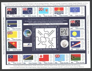 Cook Islands. 2012. Small sheet 1754-69. Oceania countries flags coin. MNH.