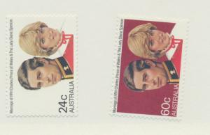 Australia Scott #804 To 805, Princess Diana and Prince Charles, Royal Wedding...