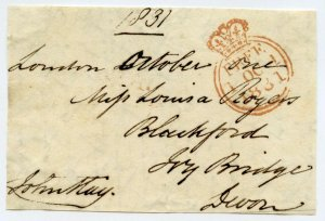 Free Front Signed John Hay 1831 MP Haddingtonshire, Windsor, Third Naval Lord