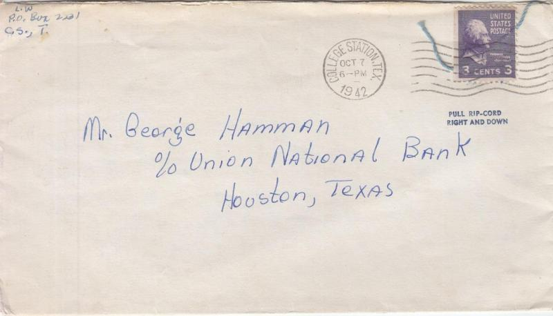 1942, College Station to Houston, TX, See Remark (26746)