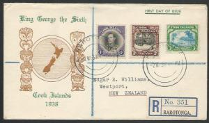 COOK IS 1938 GVI 1/-, 2/- & 3/- complete on commem FDC registered to NZ....56265