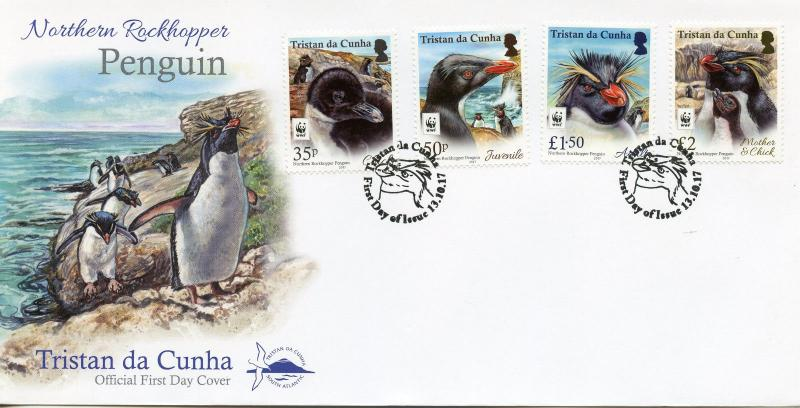 Tristan da Cunha 2017 FDC Rockhopper Penguins WWF 4v Cover Birds Penguins Stamps