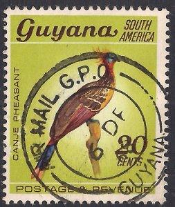 Guyana 1968 QE2 20ct Hoatzin Used SG 455 ( F673 )