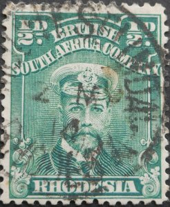 Rhodesia Admiral HalfPenny with MOUNT SELINDA Day Month (SC) postmark