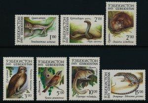 Uzbekistan 7-14 MNH Animals, Birds, Snake, Lizard