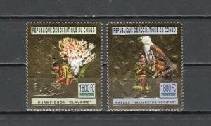 Congo, Dem. 2004 issue. Scouts with Mushroom & Bird, on 2 Gold Foils.