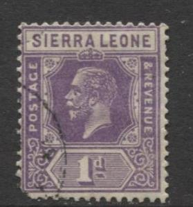 Sierra Leone - Scott 123 - KGV - Definitive -1921 - FU- Single 1d Stamp