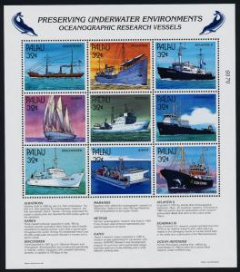Palau 436-9 MNH Ocenanographic Research Ships, Cousteau