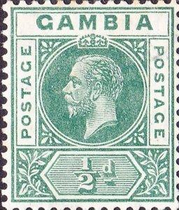 GAMBIA 1912 KGV 1/2d Green SG86a MH