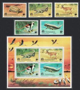 Tanzania WWF Endangered Species 5v+MS SG#212-MS217