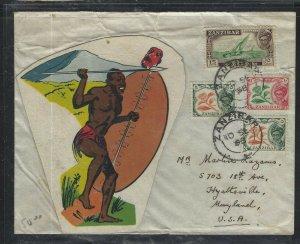 ZANZIBAR (P1008B) 1958  FANCY ART COVER SULTAN 5CX2+10CX+15C  TO USA NICE