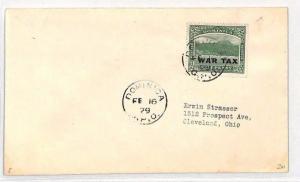 DOMINICA KGV Cover GPO *WAR TAX* Overprint USA Ohio Cleveland 1929 BH74