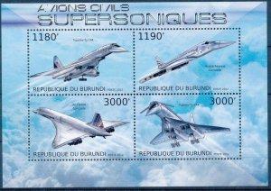 Burundi MNH S/S Supersonic Jet 2012 4 Stamps