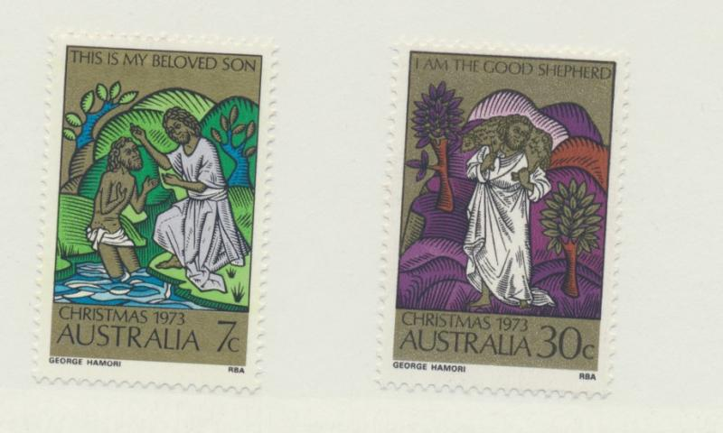Australia Scott #582 To 583, Christmas Issue From 1973 - Free U.S. Shipping, ...