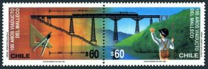 Chile 931-932a pair,MNH. Malleco Bridge,100.Boy waiving at train on bridge.1990.