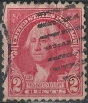 US 707 (used) 2¢ Washington bicentennial, Stuart portrait, car rose (1932)